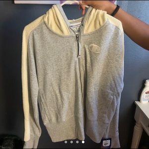 gray champion zip up hoodie